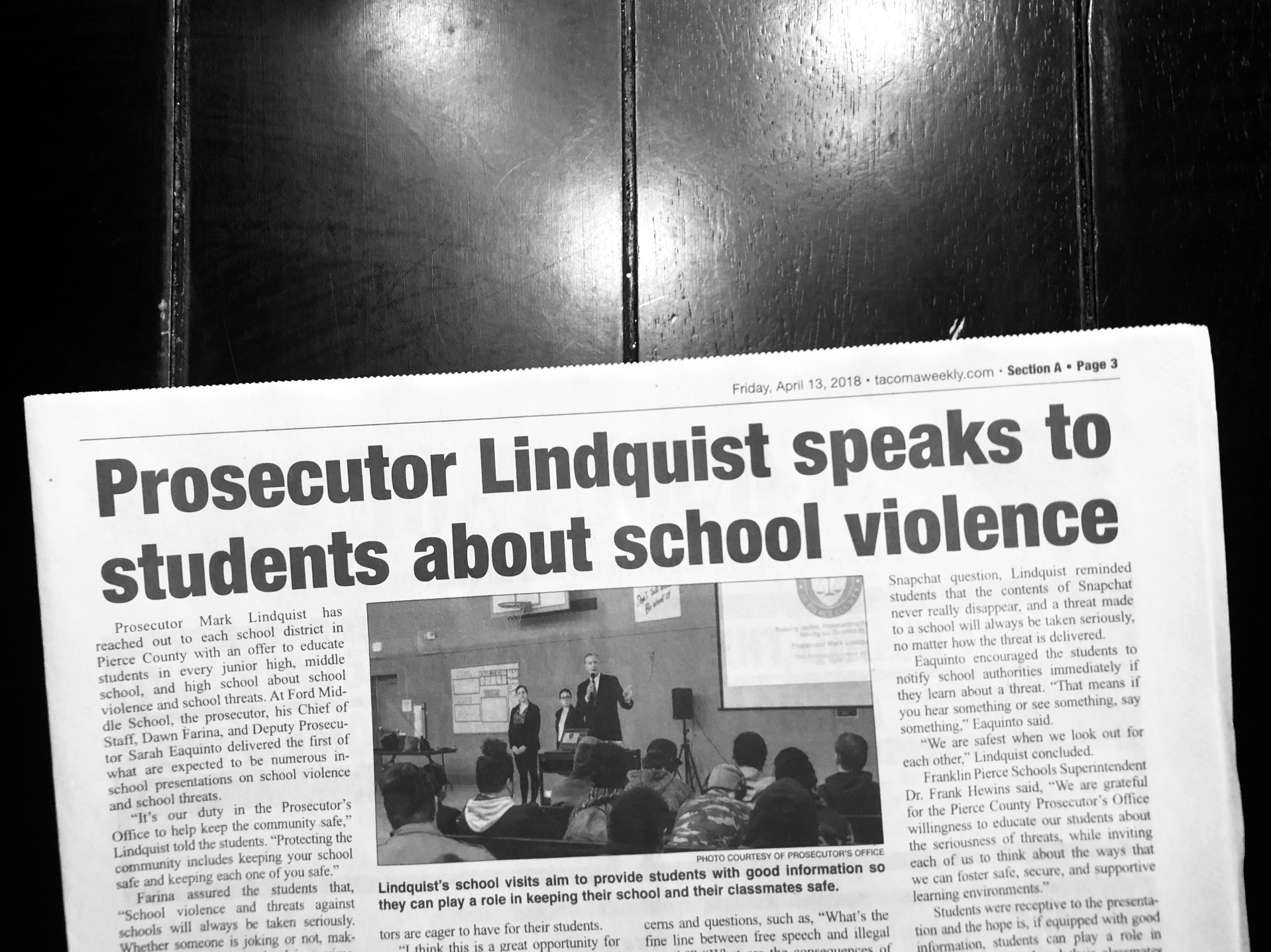 Keep Our Prosecutor Mark Lindquist and Keep Our Schools Safe
